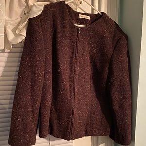 Amanda Smith multi colored Burgundy zip up blazer